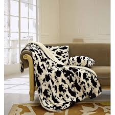 western throws for sofas woods luxury 3pc set cow white sherpa 50 x70 fleece blanket and 18