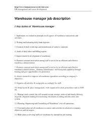 cover letter sample resume for warehouse manager resume for