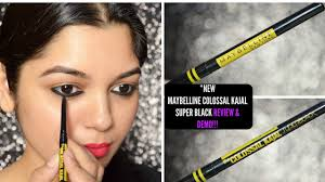 black review maybelline colossal kajal black review swatch demo