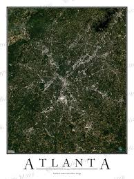 Chicago Neighborhood Map Poster by Atlanta Ga Area Satellite Map Print Aerial Image Poster