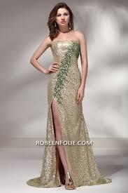 tissu robe de mariã e robe soirée en tissu doré pailleté avec une haute ouverture