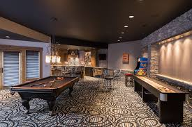Black Ceiling Basement by Video Games Basement Contemporary With Patterned Rug Upholstered