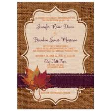 autumn wedding invitations autumn wedding invitation dried leaves faux burlap and twine bow