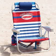 tommy bahama backpack folding beach chair in red blue stripes