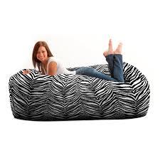 Big Joe Dorm Bean Bag Chair Fuf 6 Ft Twill Bean Bag Media Lounger Zebra Hayneedle