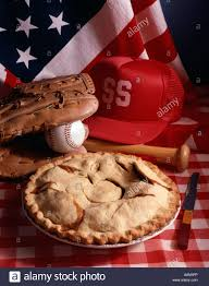 American Flag Pie Recipe Patriotic Still Life Baseball American Flag And Apple Pie Stock