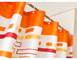 Orange Shower Curtains Orange Color Geometric Print Shower Curtain