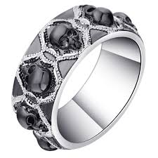jewelry rings unique images Skull ring women punk goth rings unique black silver female jpg