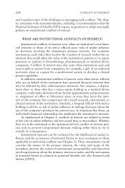 what is abstract in thesis 8 institutional conflicts of interest conflict of interest in page 218