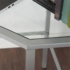 southern enterprises corner desk southern enterprises keaton glass top metal corner desk in silver