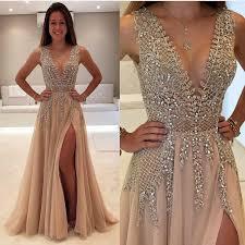 deep v prom dress beaded prom dress fashion prom dress