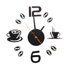 horloge cuisine café thé tasse 3d horloge murale quartz batterie chambre accueil