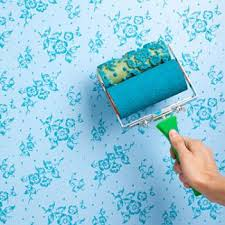 Textured Roller Paint - decorative paint rollers walls blue beautiful floral pattern