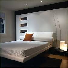 modern basement bedroom ideas with white platform bed and bright