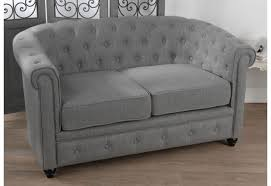 canapé chesterfield tissu banquette chesterfield 2 places tissu coton gris pieds noirs amadeu