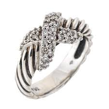 diamond x ring david yurman pave diamond x ring