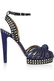 navy blue rhinestone high heel sandals knot ankle strap