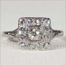vintage art deco diamond engagement ring square halo ring in