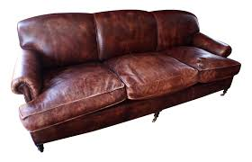 Brown Leather Sofas Vintage George Smith Terracotta Brown Leather Sofa Chairish