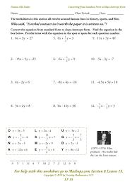 9th Grade Algebra 1 Worksheets Algebra 1 Worksheets Slope Intercept Form With Additional