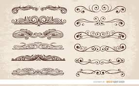 12 swirl ornaments dividers vector