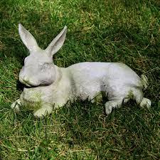 animals field rabbit fiber resin indoor outdoor statue