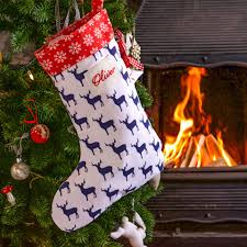 personalised christmas stocking navy stag christmas stockings