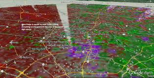 the pulsed microwave radar appears to be striking at near the