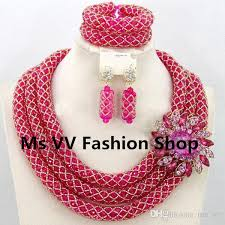 red fashion necklace images 2018 indian jewelry set 3 layers gold nigerian wedding african jpg