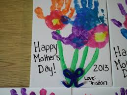 handprint mother u0027s day craft on canvas with tempera paint kids
