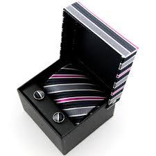 tie box gift ties planet silver black raspberry striped silk tie cufflinks
