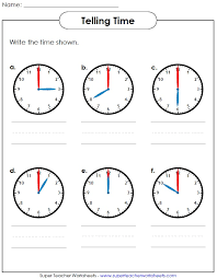 printable worksheet for telling time