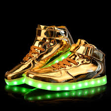 wholesale unisex led light shoes 2016 new casual gold patent