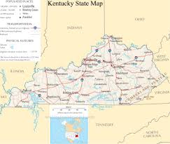 State Map Of United States by Kentucky State Map A Large Detailed Map Of Kentucky State Usa