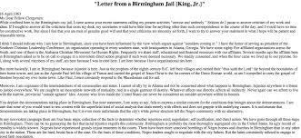 the letter from birmingham jail levelings