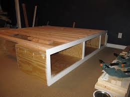 bed frames king size platform bed with storage plans diy