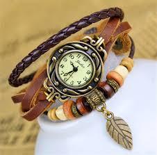 leather leaf bracelet images Leather bracelet watch women dress watches leaf pendant vintage jpg