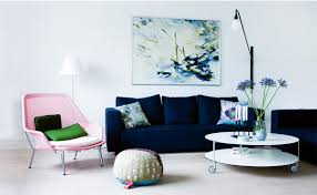 different style to decorate home with blue velvet sofa and