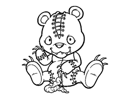 Scary Teddy Bear Coloring Page Coloringcrew Com Scary Coloring Paes