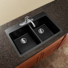 Furniture Home Double Drop In Granite Kitchen Sink Black Bottom - Black granite kitchen sinks