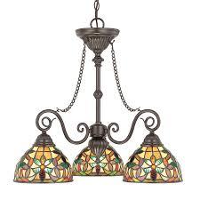Tiffany Chandelier Shop Cascadia Lighting Kami 25 In 3 Light Vintage Bronze Tiffany