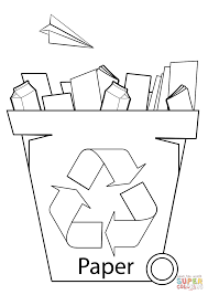 paper recycling bin coloring page free printable coloring pages