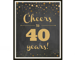 Mens 40th Birthday Decorations 40th Birthday Printable 1977 Poster Cheers To 40 Years 40
