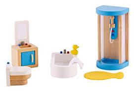 Dolls House Bathroom Furniture Hape Wooden Doll House Furniture Family Bathroom Set