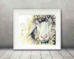 Sheep Home Decor Watercolor Sheep Etsy