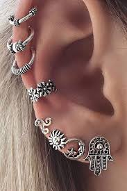 cuff earrings barque tribal antiqued silver ear cuff earring 8 pieces set