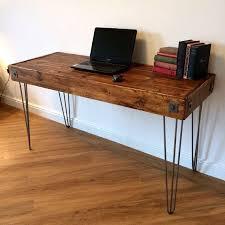 bureau rustique récupération pc table ordinateur bureau rustique ciré bois