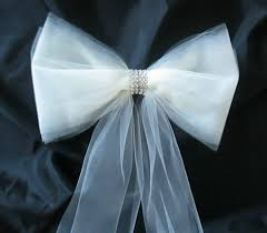 tulle and rhinestone wedding pew bows wedding by shannonkristina