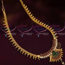 gold colour chain necklace images Nl11006 multi colour ad beads simple chain pendant short necklace JPG