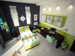 bedroom with orange and green accent on wall and furniture with